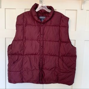 Lands' End Maroon Nylon and Goosedown Puffer Vest